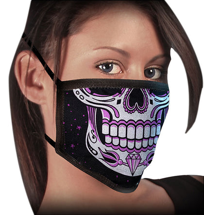 Milwaukee FMD1019 Ladies 'Sugar Skull' 100 % Cotton Protective Face Mask with Optional Filter Pocket - Milwaukee Face Masks