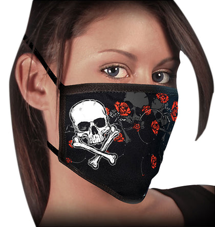 Milwaukee FMD1020 Ladies 'Rose and Skull' 100 % Cotton Protective Face Mask with Optional Filter Pocket - Milwaukee Face Masks