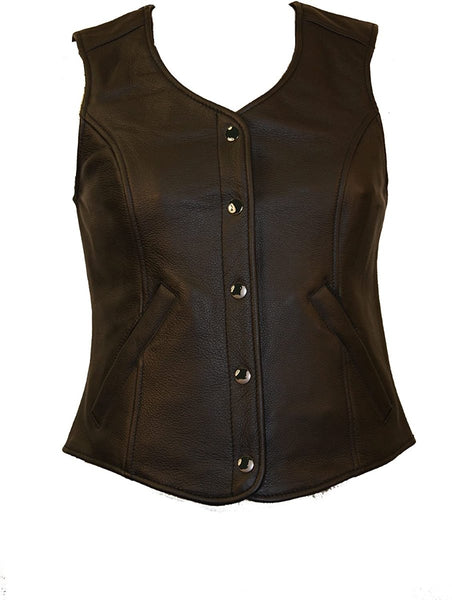 First Manufacturing FML565CCF Women's Black Plain Side Concealed Weapon Leather Vest
