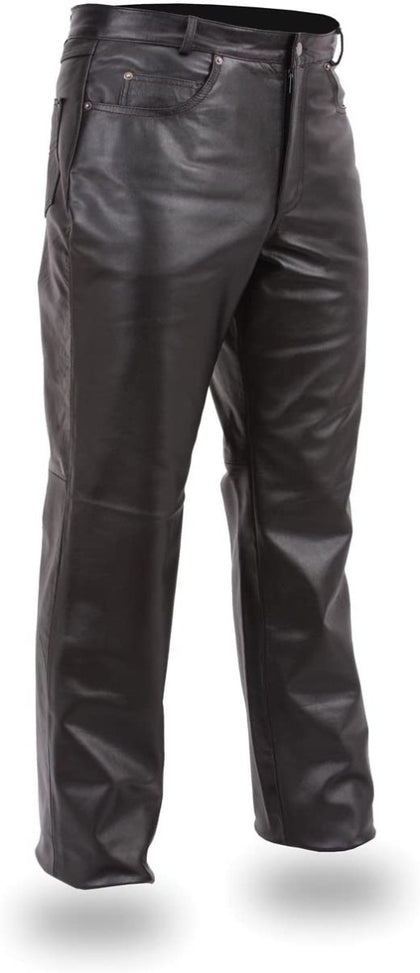 First Manufacturing FMM802FB Men's Fully Lined 5-Pocket Leather Pants
