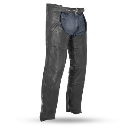 First Manufacturing FMM830BM Unisex Nomad Black Leather Motorcycle Chaps