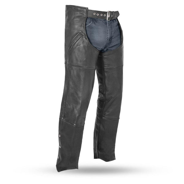 First Manufacturing FMM830BM Black 'The Nomad' Unisex Motorcycle Leather Chaps