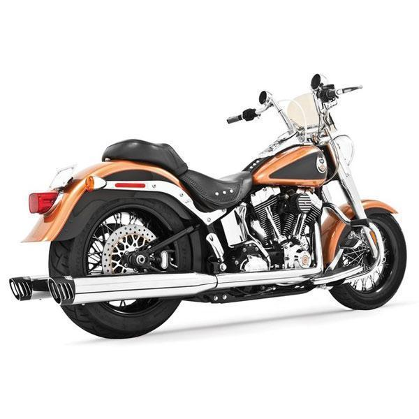Freedom Performance Racing Chrome with Black Tip Dual Systems Exhaust for Harley Davidson 1986-2006 Softail - Chrome - N/A