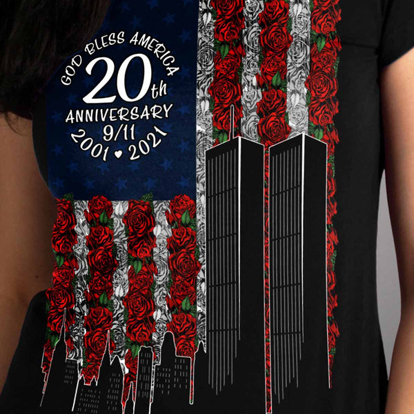 Hot Leathers GLR1350 Ladies Black '9-11 Roses and Flag' T-Shirt