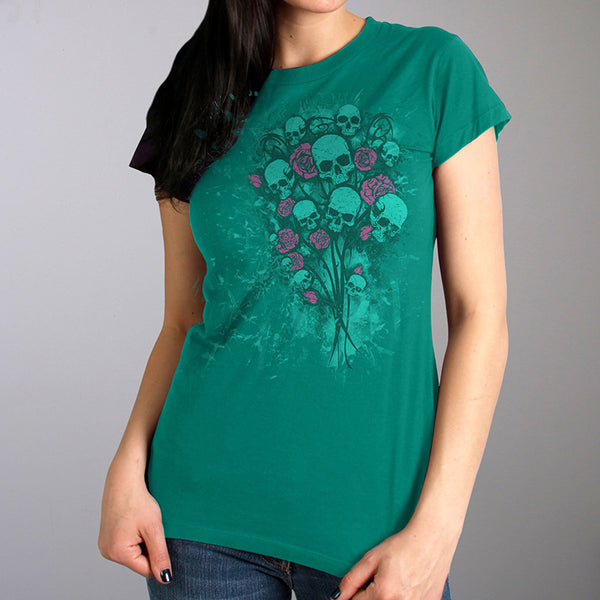 Hot Leathers GLR1527 Ladies Skull Bouquet Full Cut Carolina Blue T-Shirt