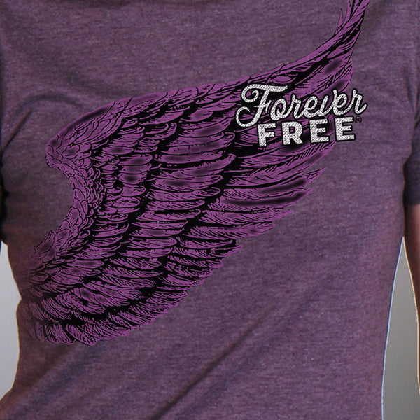 Hot Leathers GLR1528 Ladies Full Cut Modern Angel Wings Vintage Purple T-Shirt - Hot Leathers Womens T-Shirts