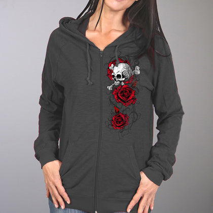 Hot Leathers GLZ4525 Ladies Skull Roses Dark Gray Hooded Sweatshirt - Hot Leathers Ladies Printed Hoodies