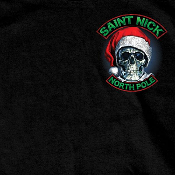 Hot Leathers GMD1329 Men's Saint Nick Skull Christmas Black T-Shirt - Hot Leather Mens Short Sleeve Printed Shirts