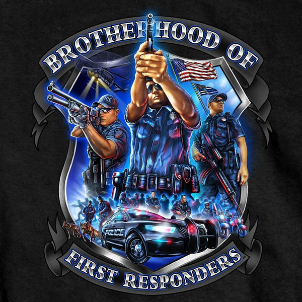 Hot Leathers GMD1449 Men's Brotherhood of First Responders Police Black T-Shirt - Hot Leather Mens Short Sleeve Printed Shirts