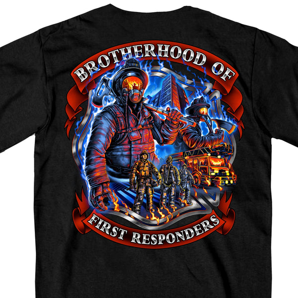 Hot Leathers GMD1450 Men's Brotherhood of First Responders Fireman Black T-Shirt - Hot Leather Mens Short Sleeve Printed Shirts