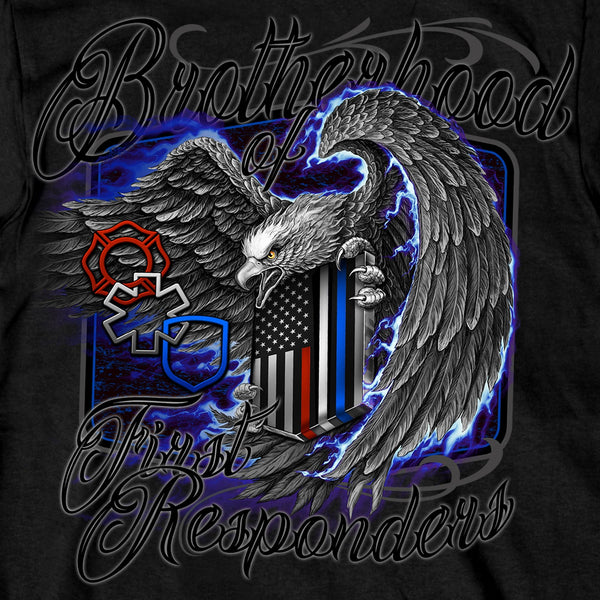 Hot Leathers GMD1451 Men's Brotherhood of First Responders Eagle Black T-Shirt - Hot Leather Mens Short Sleeve Printed Shirts