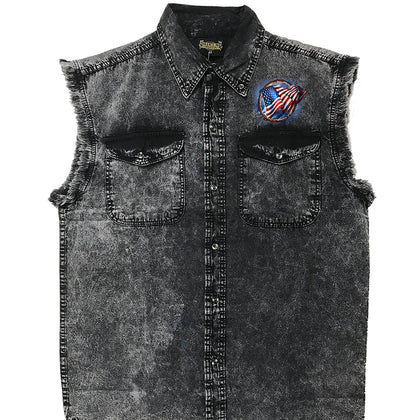 Hot Leathers GMD5472 Men's Hoop Eagle Dyed Sleeveless Denim Shirt - Hot Leathers Mens Denim Sleeveless Shirts