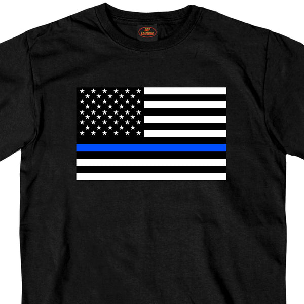 Hot Leathers GMS1445 Mens Thin Blue Line American Flag Black T-Shirt - Hot Leather Mens Short Sleeve Printed Shirts