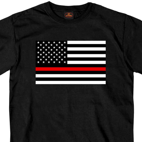 Hot Leathers GMS1446 Mens Thin Red Line USA Flag Black T-Shirt - Hot Leather Mens Short Sleeve Printed Shirts