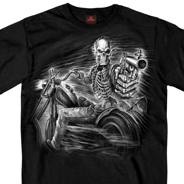Hot Leathers GMS1458 Mens Assassin Rider Black T-Shirt - Hot Leather Mens Short Sleeve Printed Shirts