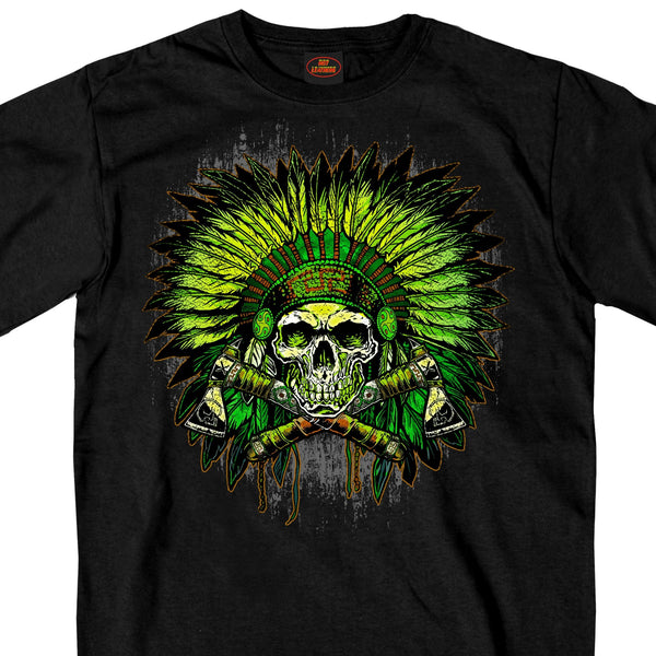 Hot Leathers GMS1463 Mens Green Indian Headdress Skull Black T-Shirt - Hot Leather Mens Short Sleeve Printed Shirts