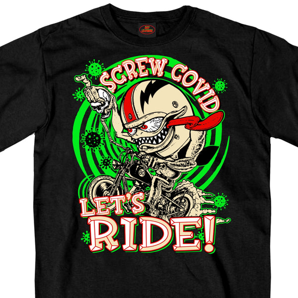 Hot Leathers GMS1474 Men's Screw Covid Lets Ride Coronavirus Motorcycle Black T-Shirt - Hot Leather Mens Short Sleeve Printed Shirts