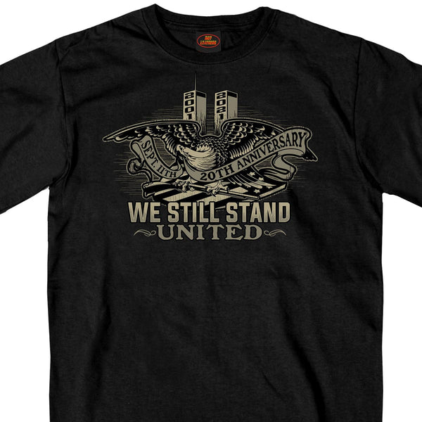 Hot Leathers GMS1493 Men's Black '9-11 United We Stand Eagle' T-Shirt