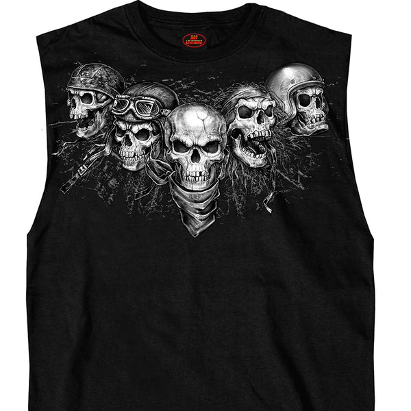 Hot Leathers GMT3423 Men's Five Skull Sleeveless Shooter Black Shirt - Hot Leathers Mens Printed Sleveeless Shirts