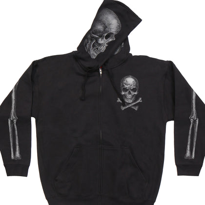 Hot Leathers GMZ4402 Men's 'Jolly Roger Skull' Black Hoodie with Zipper Closure - Hot Leather Mens Printed Hoodies