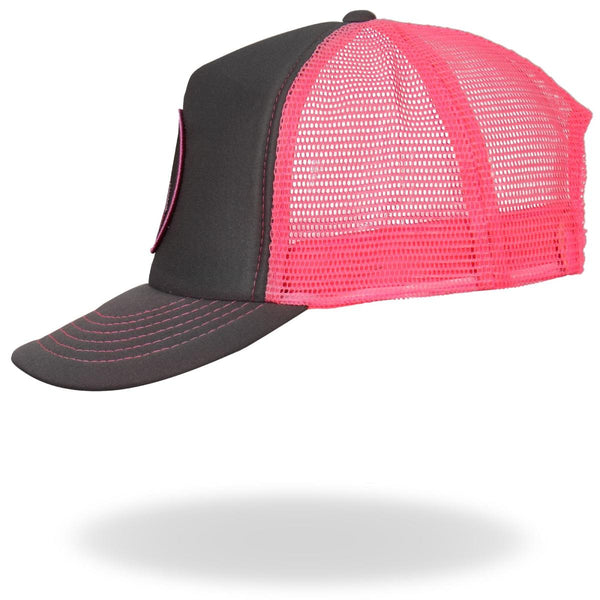 Hot Leathers GSH1001 Middle Finger Grey and Pink Trucker Hat