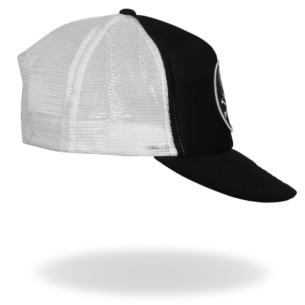 Hot Leathers GSH1008 Skull and Cross Bones Black and White Trucker Hat - Hot Leathers Hats and Caps