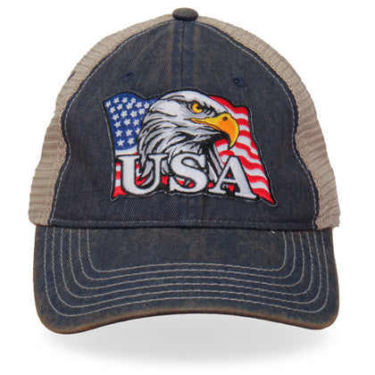 Hot Leathers GSH1023 Eagle Head Flag Trucker Hat - Hot Leathers Hats and Caps