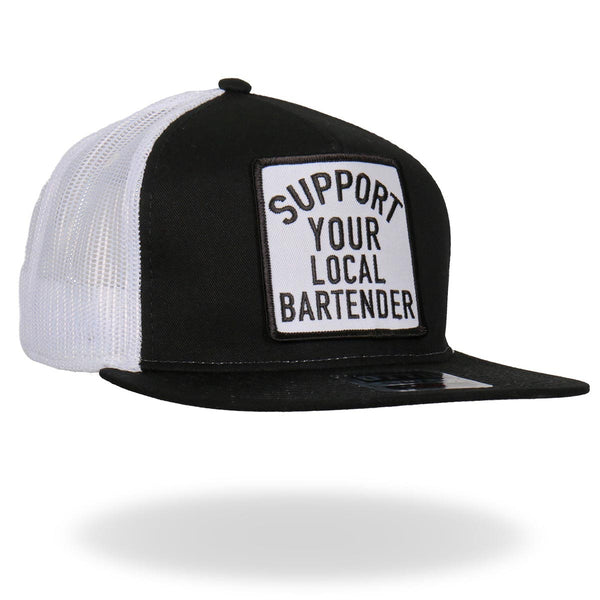 Hot Leathers GSH2007 Support Your Local Bartender Black and White Snapback Ball Cap - Hot Leathers Hats and Caps