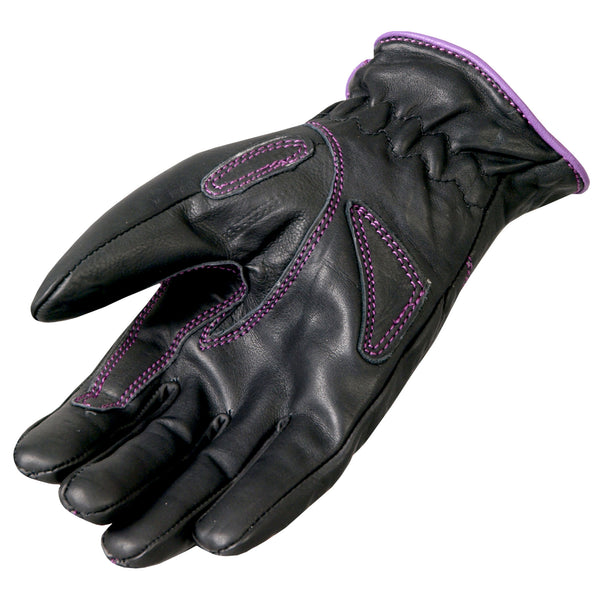 Hot Leathers GVL1008 Ladies Driving Gloves with Purple Piping - Hot Leathers Gloves