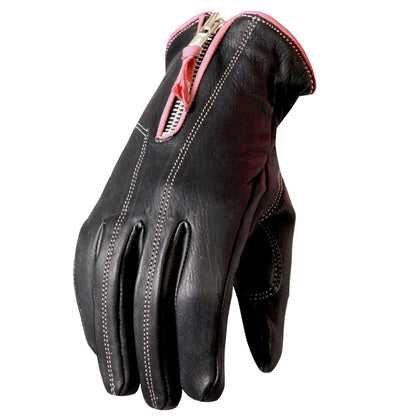 Hot Leathers GVL1009 Ladies Driving Gloves with Pink Piping - Hot Leathers Gloves