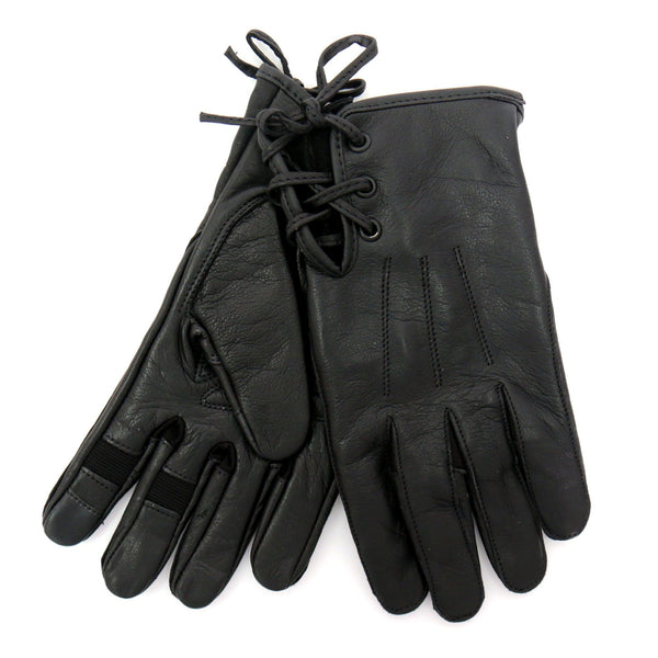 Hot Leathers GVL1011 Black Side Lace Ladies Leather Glove - Hot Leathers Gloves
