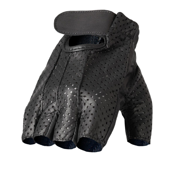 Hot Leathers GVM1016 Unlined Fingerless Vented Leather Gloves with Padded Gel Palm - Hot Leathers Gloves