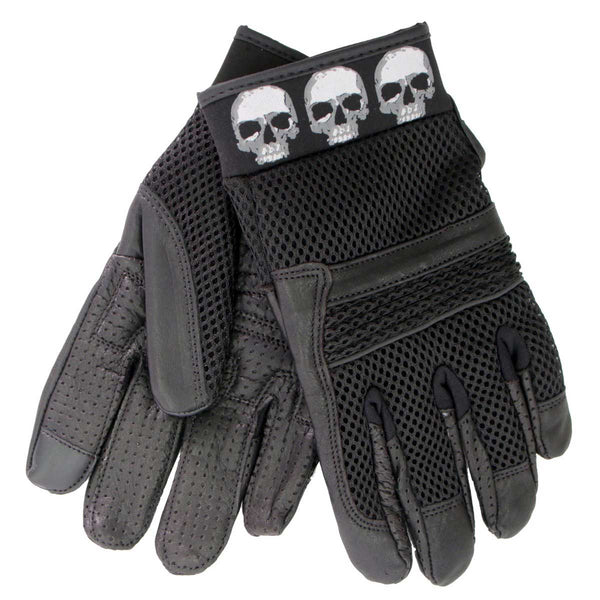 Hot Leathers GVM1301 Uni-Sex Black 'Row of Skulls' Leather and Mesh Gloves
