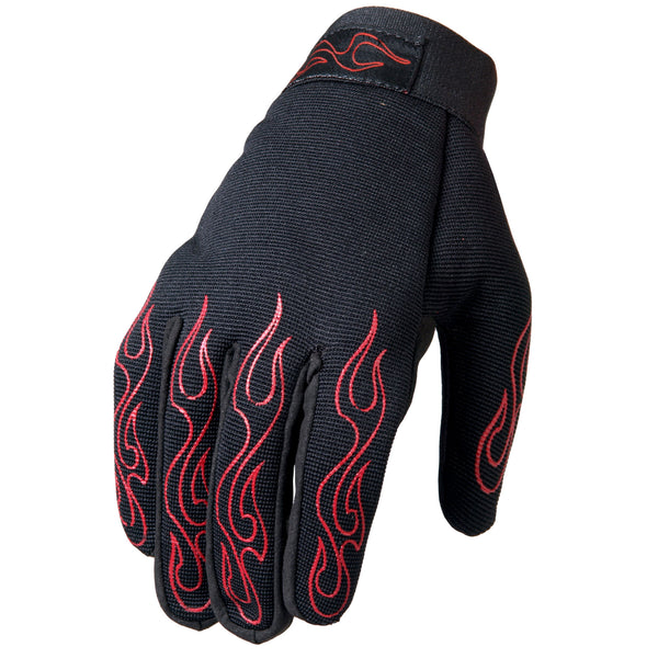 Hot Leathers GVM2002 Mechanic's Gloves with Red Flames - Hot Leathers Gloves