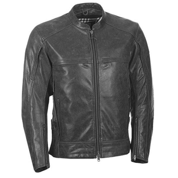 Highway 21 Gunner Men's Vintage Gunmetal Leather Jacket with Armor - N/A