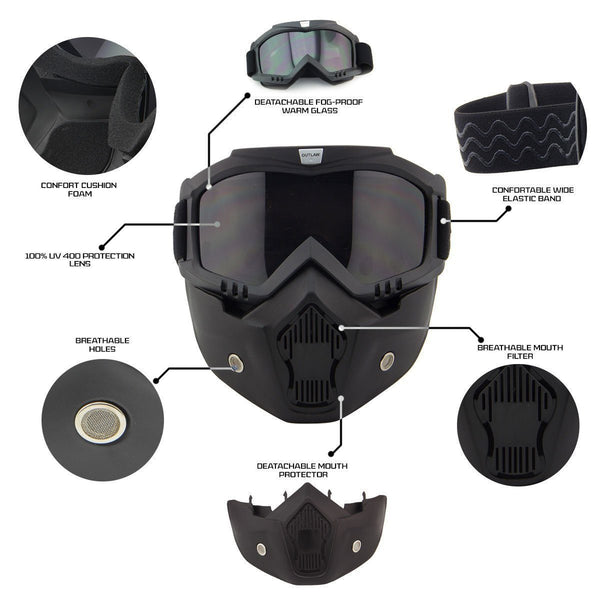 Outlaw 50 'Nemesis' Vintage Face Mask with Detachable Motorcycle Goggles and UV 400 Lens - Outlaw Helmet Accessories