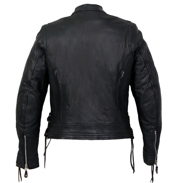 Hot Leathers JKL1025 Ladies Lace Up Sleeves Leather Jacket - Hot Leathers Ladies Jackets