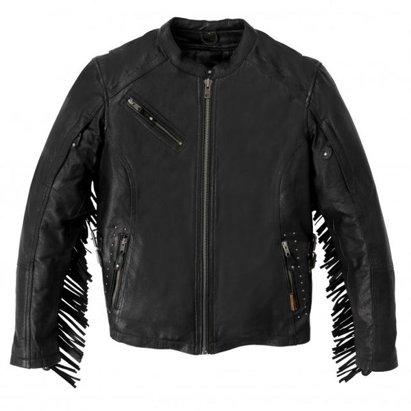 Hot Leathers JKL1028 Studs and Fringe Ladies Black Carry Conceal Leather Jacket - Hot Leathers Ladies Jackets