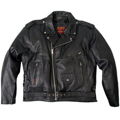 Hot Leathers JKM1002 Classic Men's Motorcycle Leather Jacket with Zip Out Lining - Hot Leathers Mens Jackets