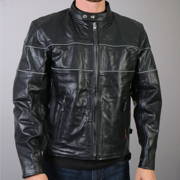 Hot Leathers JKM1004 Men's Leather Vented Scooter Jacket with Reflective Piping - Hot Leathers Mens Jackets