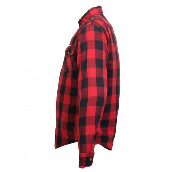 Hot Leathers JKM3003 Men's Red and Black Armored Flannel Jacket - Hot Leathers Mens Flannel Shirts
