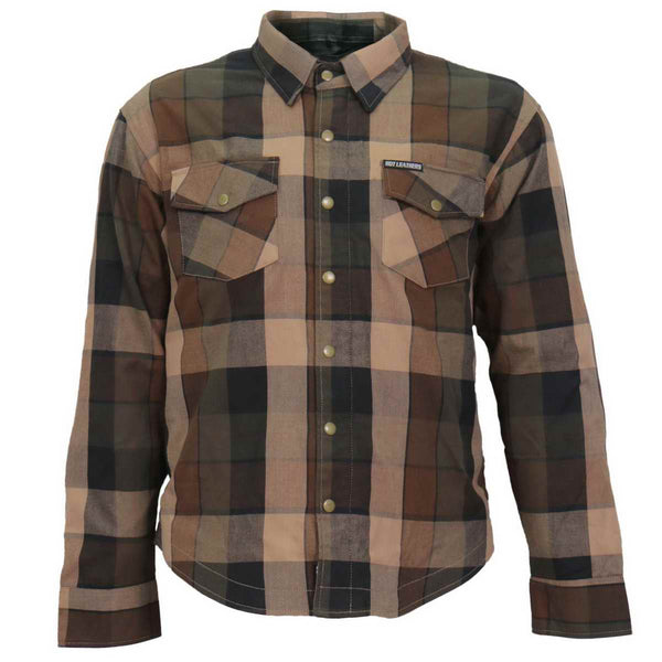 Hot Leathers JKM3007 Men's Black and Brown Armored Flannel Shirt