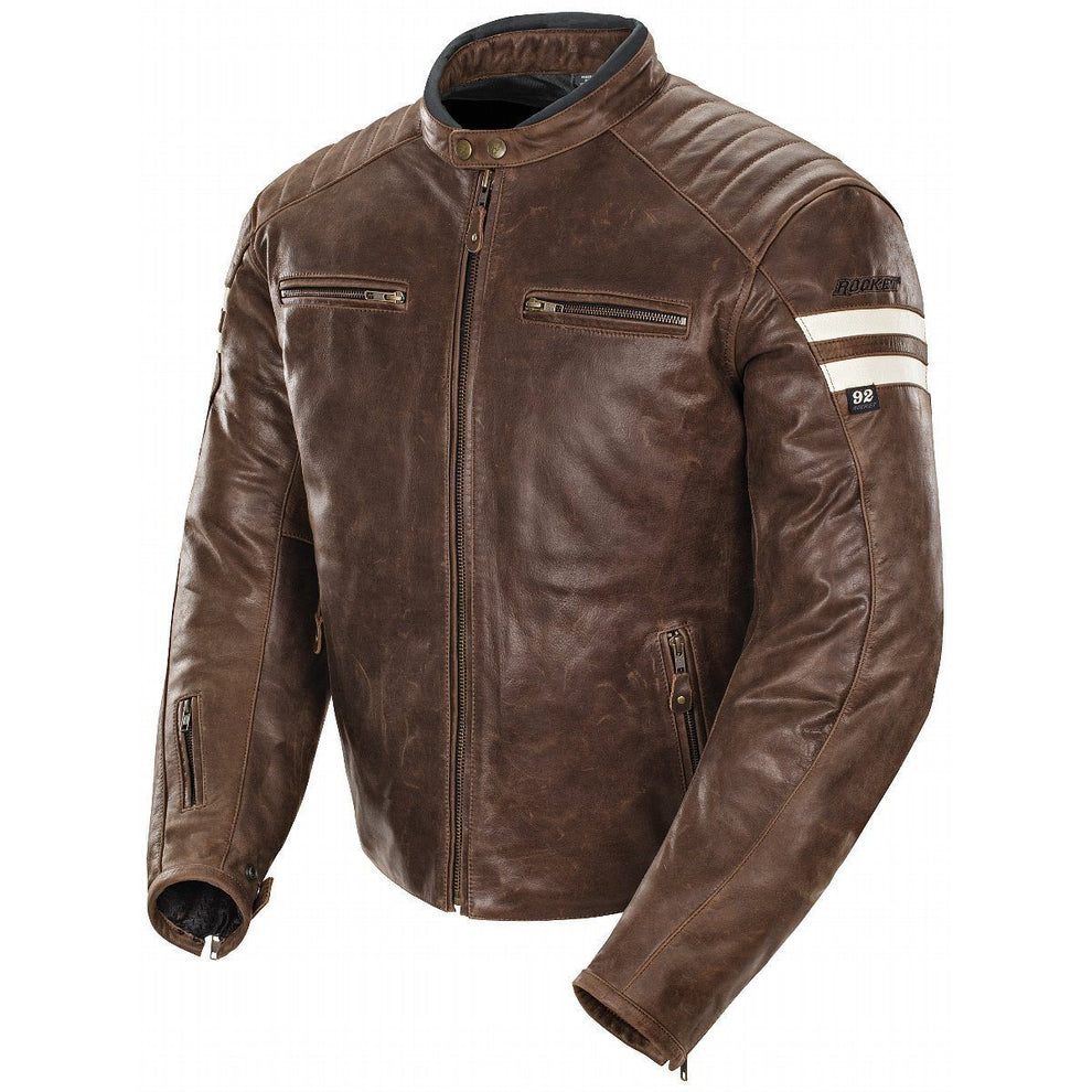 Joe Rocket 'Classic 92' Mens Brown/Cream Leather Jacket