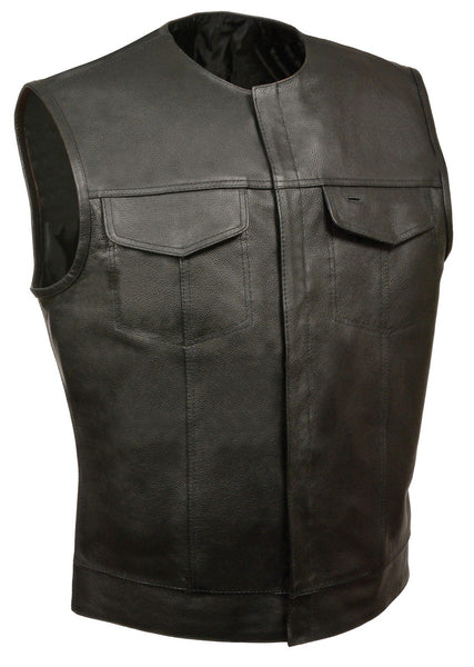 Just Leather JSL1937Z Men's Black Leather Vest with Inside Gun Pocket - Just Leather Mens Leather Vests