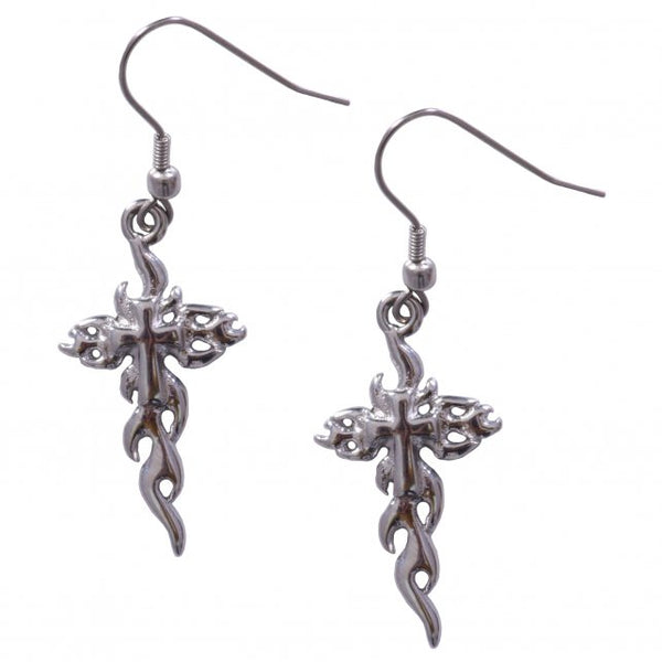 Hot Leathers JWE1110 Stainless Steel Cross Flames Earrings - Hot Leathers Jewelry