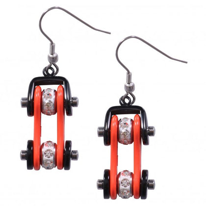 Hot Leathers JWE11101 Orange and Black Bike Chain Earrings - Hot Leathers Jewelry