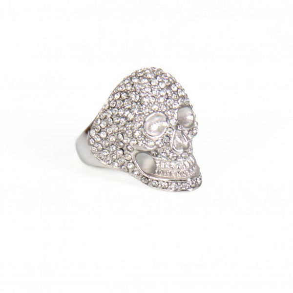 Hot Leathers JWR1113 Bling Skull Stainless Steel Ring - Hot Leathers Jewelry