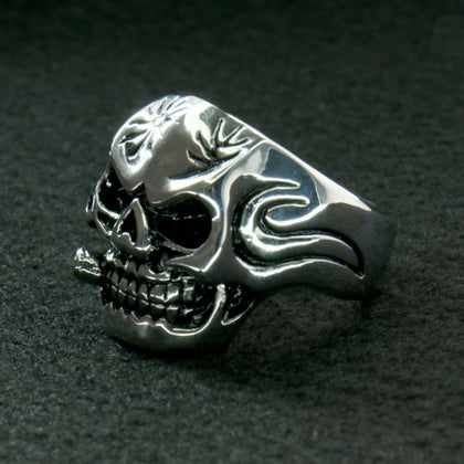 Hot Leathers JWR2102 Men's Skull Cigar Stainless Steel Ring - Hot Leathers Jewelry
