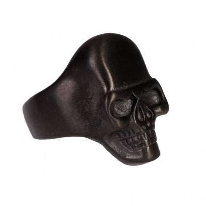 Hot Leathers JWR2127 Men's Black Matte Smooth Skull Stainless Steel Ring - Hot Leathers Jewelry