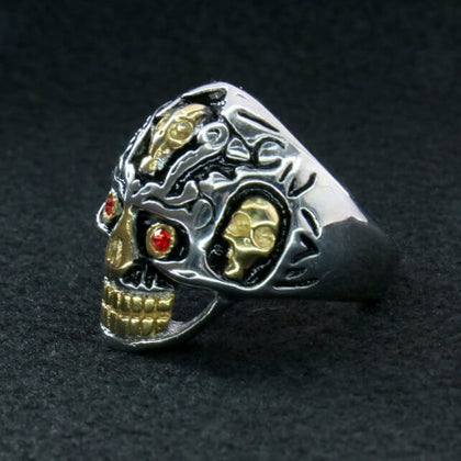Hot Leathers JWR2202 Men's Holy Toledo Skull Stainless Steel Ring - Hot Leathers Jewelry